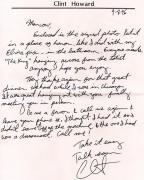 Clint Howard Autographed Signed Handwritten Letter    AFTAL