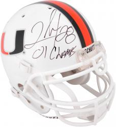 Clinton Portis Miami Hurricanes Autographed Riddell Pro-Line Authenic Helmet with '01 Champs' Inscription - Mounted Memories