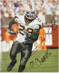 "Clinton Portis with '01 Champs' Inscription Miami Hurricanes Autographed 16"" x 20"" Photograph - Mounted Memories"