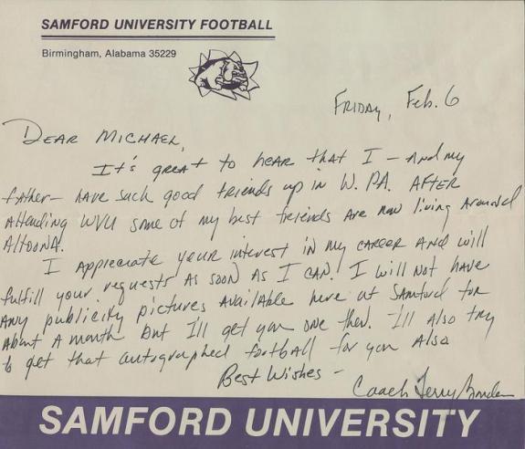 Coach Terry Bowden Signed Handwritten Letter Samford University Akron Auburn
