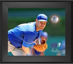"Colby Lewis Texas Rangers Framed 20"" x 24"" Gamebreaker Photograph with Game-Used Pitched Ball"