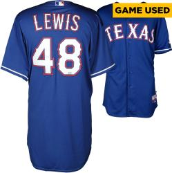 Colby Lewis Texas Rangers Game Used Blue Jersey from 5/2/14 vs Los Angeles Angels of Anaheim