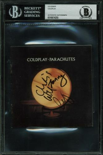 Coldplay (4) Martin, Berryman, Champion Signed Parachutes CD Cover BAS Slabbed