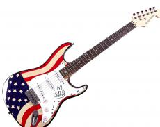 Coldplay Chris Martin w Heart added! Autographed Signed USA Guitar PSA AFTAL