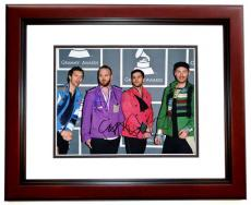 Coldplay Group Signed - Autographed by Chris Martin, Will Champion, and Jonny Buckland 11x14 Photo at the Grammy Awards - MAHOGANY CUSTOM FRAME