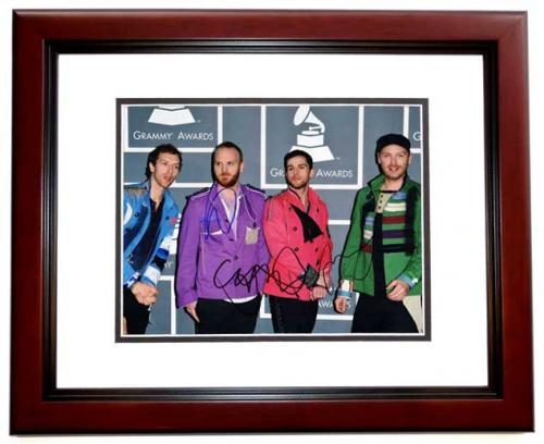Coldplay Group Signed - Autographed by Chris Martin, Will Champion, and Jonny Buckland 11x14 inch Photo at the Grammy Awards - MAHOGANY CUSTOM FRAME - Guaranteed to pass PSA or JSA