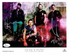 COLDPLAY HAND SIGNED 8x10 COLOR GROUP PHOTO     CHRIS MARTIN     TO DAVE     JSA