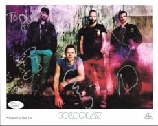 COLDPLAY HAND SIGNED 8x10 COLOR GROUP PHOTO     CHRIS MARTIN     TO STEVE    JSA