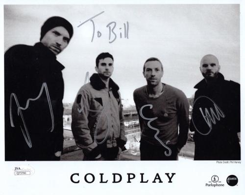 COLDPLAY HAND SIGNED 8x10 GROUP PHOTO       SIGNED BY ALL       TO BILL      JSA