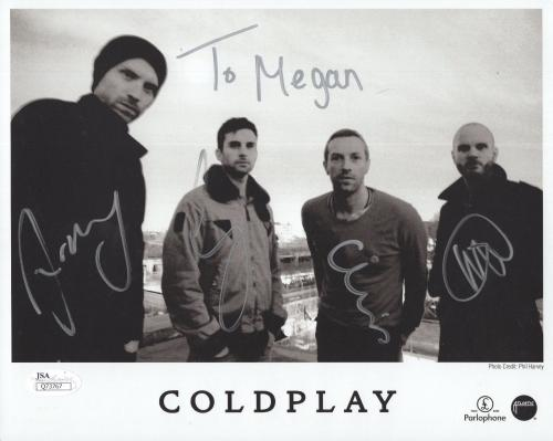 COLDPLAY HAND SIGNED 8x10 GROUP PHOTO       SIGNED BY ALL      TO MEGAN      JSA