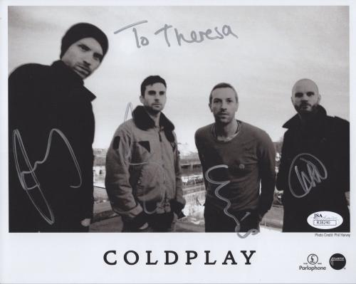 COLDPLAY HAND SIGNED 8x10 GROUP PHOTO      SIGNED BY WHOLE BAND      RARE    JSA