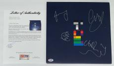 Coldplay X4 Chris Martin Guy Berryman Jonny & Will Signed X&y Record Psa Loa