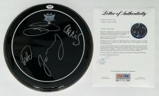 Coldplay X4 Chris Martin Guy Berryman Will Champion & Jonny Signed Drumhead Psa