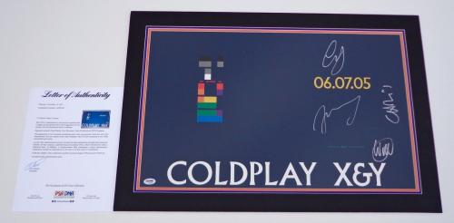 Coldplay X4 Chris Martin Guy Jonny & Will Signed X&y 15x24 Promo Poster Psa Loa