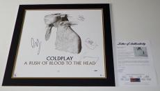 Coldplay X4 Chris Martin Jonny Guy & Will Signed Rush Of Blood Poster 19/500 Psa