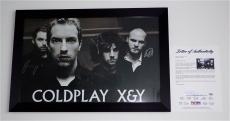 Coldplay X4 Chris Martin Jonny Guy & Will Signed X&y Framed Poster Psa Loa