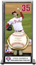 Cole Hamels Philadelphia Phillies Baseball Display Case with Gold Glove & Plate - Mounted Memories