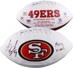 Colin Kaepernick Autographed White Panel Football with Merry X-Mas Inscription