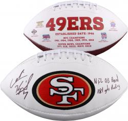 Colin Kaepernick Autographed White Panel Football with NFL QB Record 181 Yds Rushing Inscription