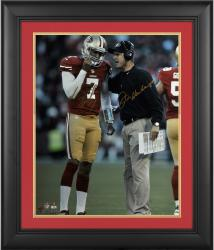 "Colin Kaepernick & Jim Harbaugh San Francisco 49ers Framed Autographed 16"" x 20"" Vertical Talking Photograph"