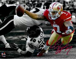 Colin Kaepernick San Francisco 49ers Autographed 11'' x 14'' Diving Out of Bounds Spotlight Photograph
