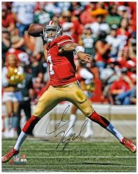 Colin Kaepernick San Francisco 49ers Autographed 16'' x 20'' Passing Photograph - Mounted Memories
