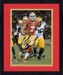 "Colin Kaepernick San Francisco 49ers Autographed 8x10 Photograph with ""NFL QB Record/181 Yds Running"" Inscription - Mounted Memories"