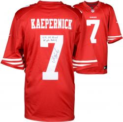 Colin Kaepernick San Francisco 49ers Autographed Red Nike Jersey with NFL QB Record 181 Yds Rushing Inscription