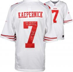 Colin Kaepernick San Francisco 49ers Autographed White Nike Jersey with NFL QB Record 181 Yds Rushing Inscription