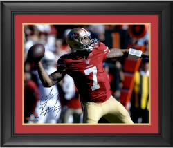 "Colin Kaepernick San Francisco 49ers Framed Autographed 16"" x 20"" Red Uniform Throwing Photograph"