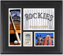 """Colorado Rockies Team Logo Framed 15"""" x 17"""" Collage with Piece of Game-Used Ball"""
