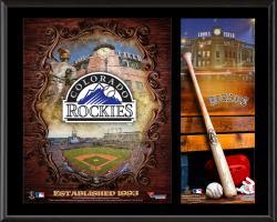 """Colorado Rockies Sublimated 12"""" x 15"""" Team Logo Plaque"""