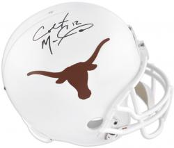 Colt McCoy Texas Longhorns Autographed Riddell Replica Helmet with 12 Inscription - Mounted Memories
