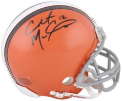 Colt McCoy Cleveland Browns Autographed Riddell Mini Helmet with 12 Inscription - Mounted Memories