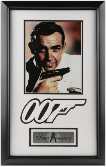 Sean Connery James Bond 007 Framed 8'' x 10'' Photograph with Logo & Plate
