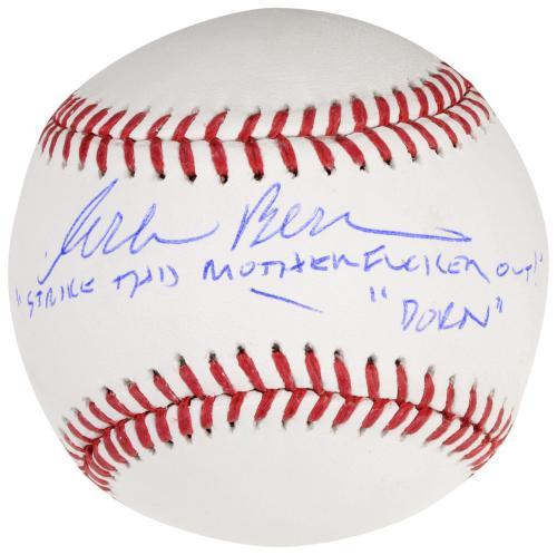 Corbin Bernsen Autographed Baseball with Strike This Motherfucker Out, Dorn Inscription - Beckett COA