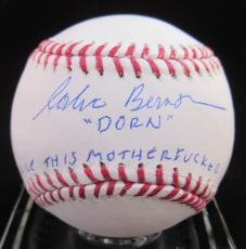 """Corbin Bernsen """"Dorn"""" """"Strike This Motherf**ker Out"""" Signed Baseball - Steiner"""