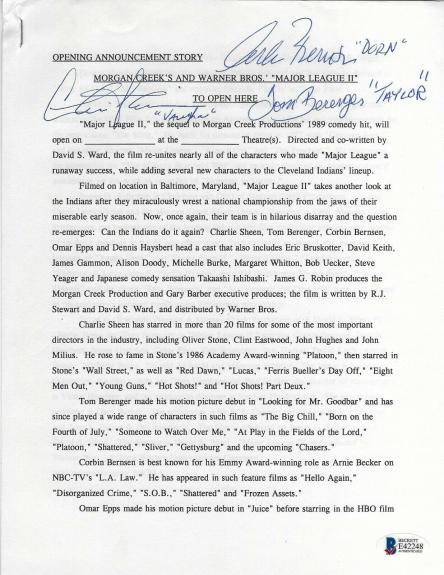 Corbin Bernsen Charlie Sheen & Tom Berenger Signed Major League 2 Info BAS COA