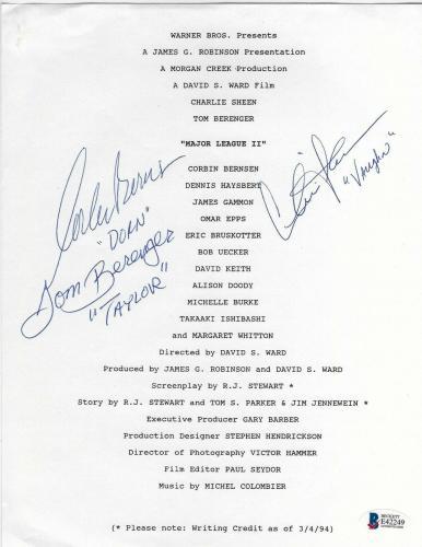 Charlie Sheen & Corbin Bernsen Tom Berenger Signed Major League 2 Cast Info BAS