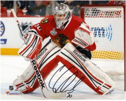 "Corey Crawford Chicago Blackhawks 2013 NHL Stanley Cup Final Champions 8"" x 10"" Autographed Action Photograph"