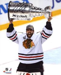 Corey Crawford Chicago Blackhawks 2013 Stanley Cup Champions Autographed 8'' x 10'' Cup Photograph with 2013 SC Champs Inscription - Mounted Memories