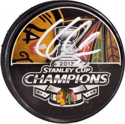 Corey Crawford Chicago Blackhawks 2013 Stanley Cup Champions Autographed Stanley Cup Logo Puck