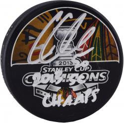 Corey Crawford Chicago Blackhawks 2013 Stanley Cup Champions Autographed Stanley Cup Logo Puck with 2013 SC Champs Inscription - Mounted Memories