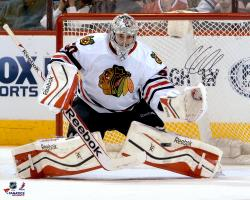 "Corey Crawford Chicago Blackhawks Autographed 16"" x 20"" White Uniform Save Photograph"