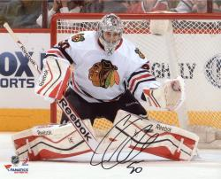 "Corey Crawford Chicago Blackhawks Autographed 8"" x 10"" White Uniform Save Photograph"