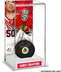 Corey Crawford Chicago Blackhawks Autographed Puck with Deluxe Tall Hockey Puck Case