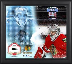 Corey Crawford Chicago Blackhawks Framed 15'' x 17'' Mosaic Collage with Piece Of Game-Used Puck-Limited Edition of 99