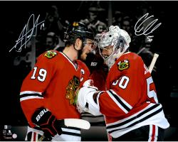 "Corey Crawford & Jonathan Toews Chicago Blackhawks Autographed 16"" x 20"" Spotlight Photograph"