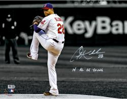 """Corey Kluber Cleveland Indians Autographed 11"""" x 14"""" Spotlight Photograph with 14 AL Cy Young Inscription"""