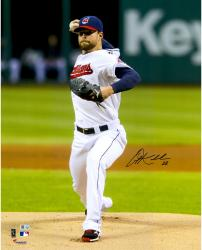 """Corey Kluber Cleveland Indians Autographed 16"""" x 20"""" Vertical Pitching in White Photograph"""